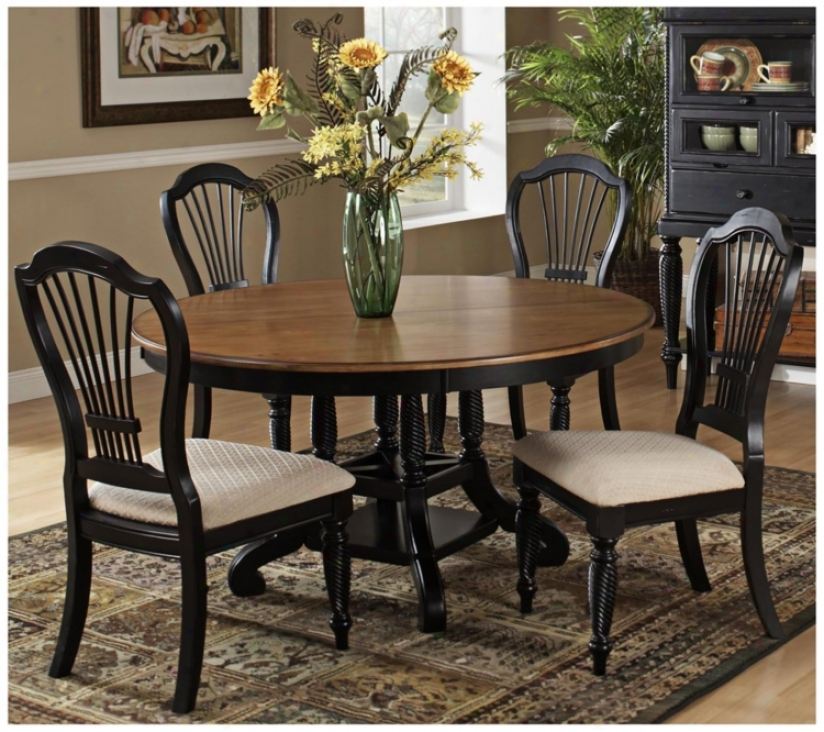 Hillsdale Wilshire Black Finish Round 5 Composition Dining Set (t5543)