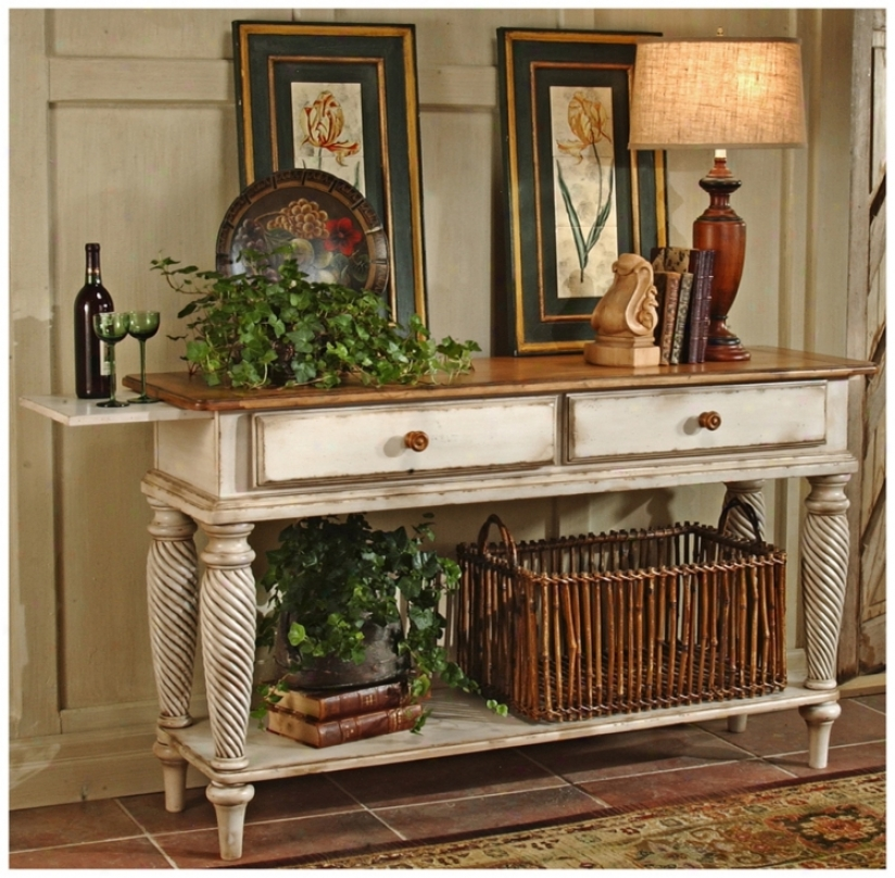 Hillsdale Wilshire White Finish Legs Sideboard Table (t5549)