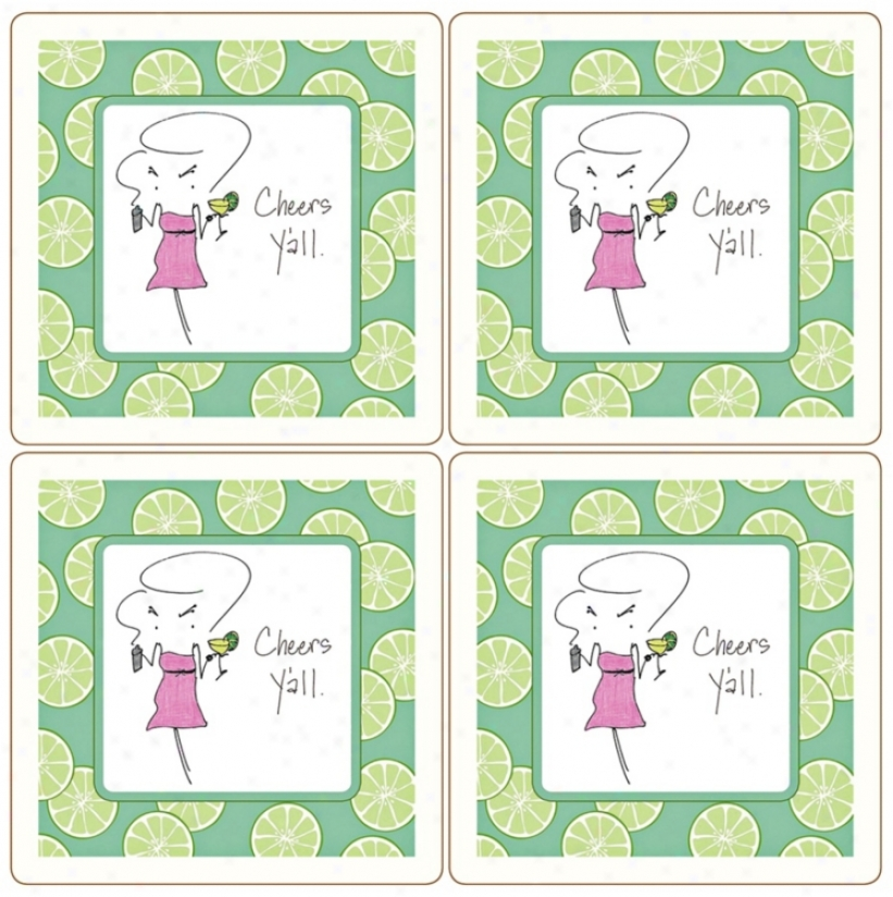Hindostone Sassy! Set Of 4 Cheers Y'all! Stone Coasters (u7192)