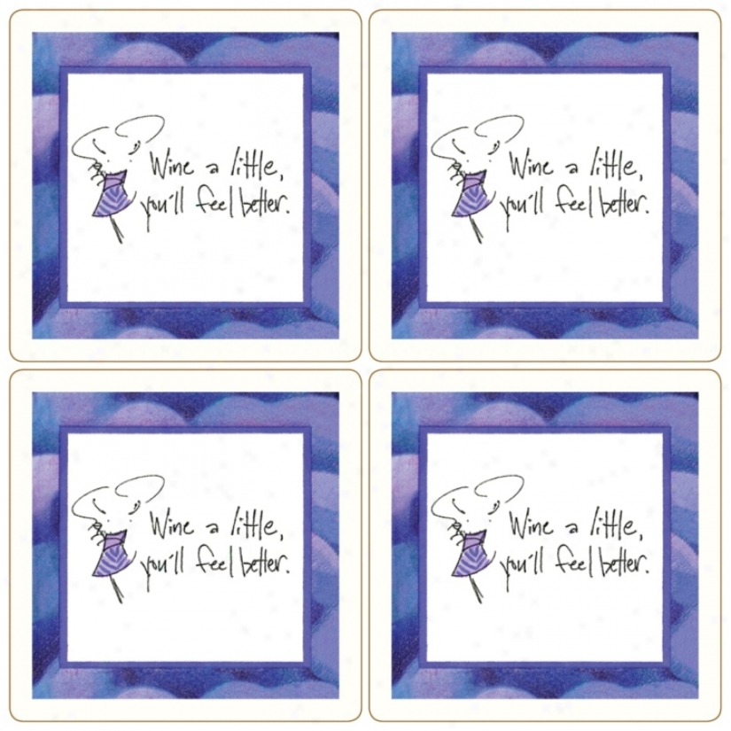 Hindotsone Sassy! Sey Of 4 Wine A Little Stone Coasters (u7220)