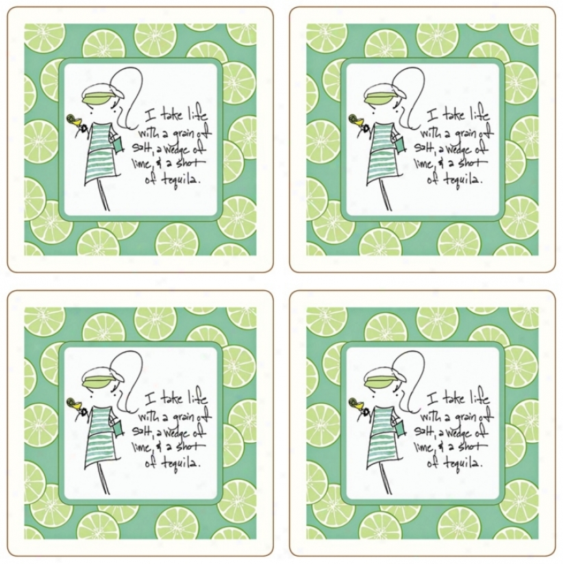 Hindostone Sassy! Set Of Four Grain Of Salt Stone Coasters (u7200)