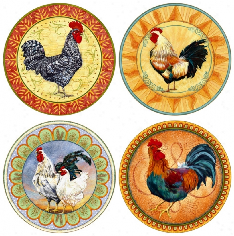 Hiindostone Set Of 4 Cock Coasters (r1509)