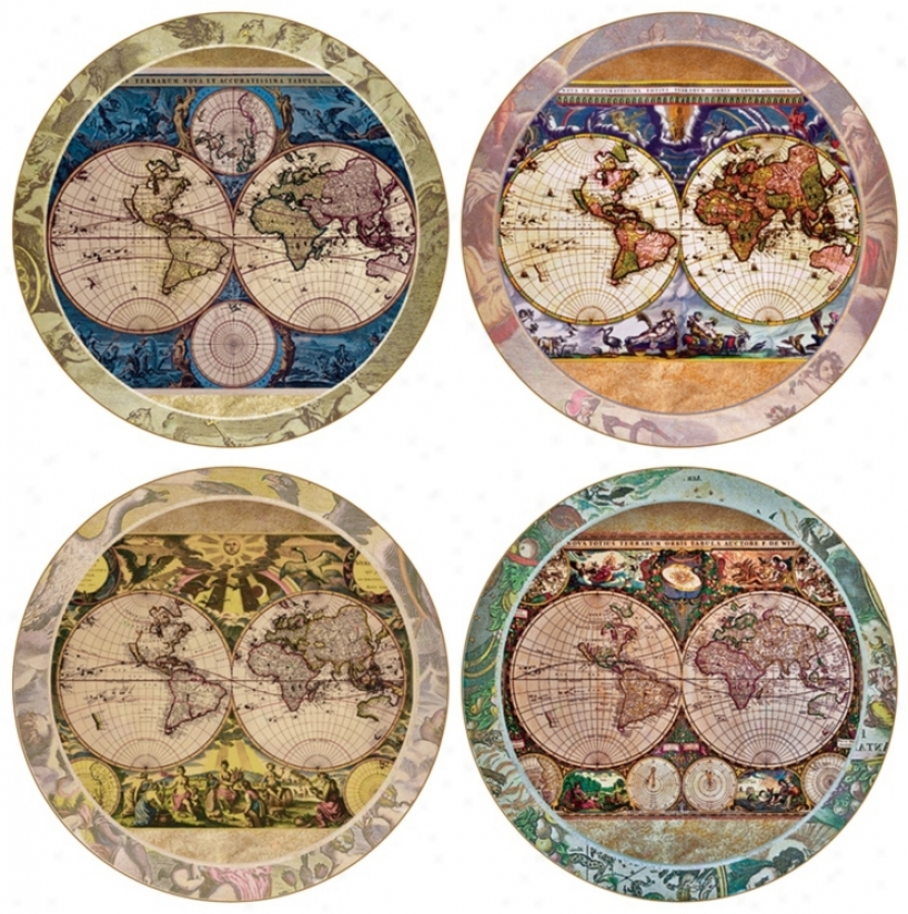 Hindostone Regular Of 4 World Map Coasters (r1553)