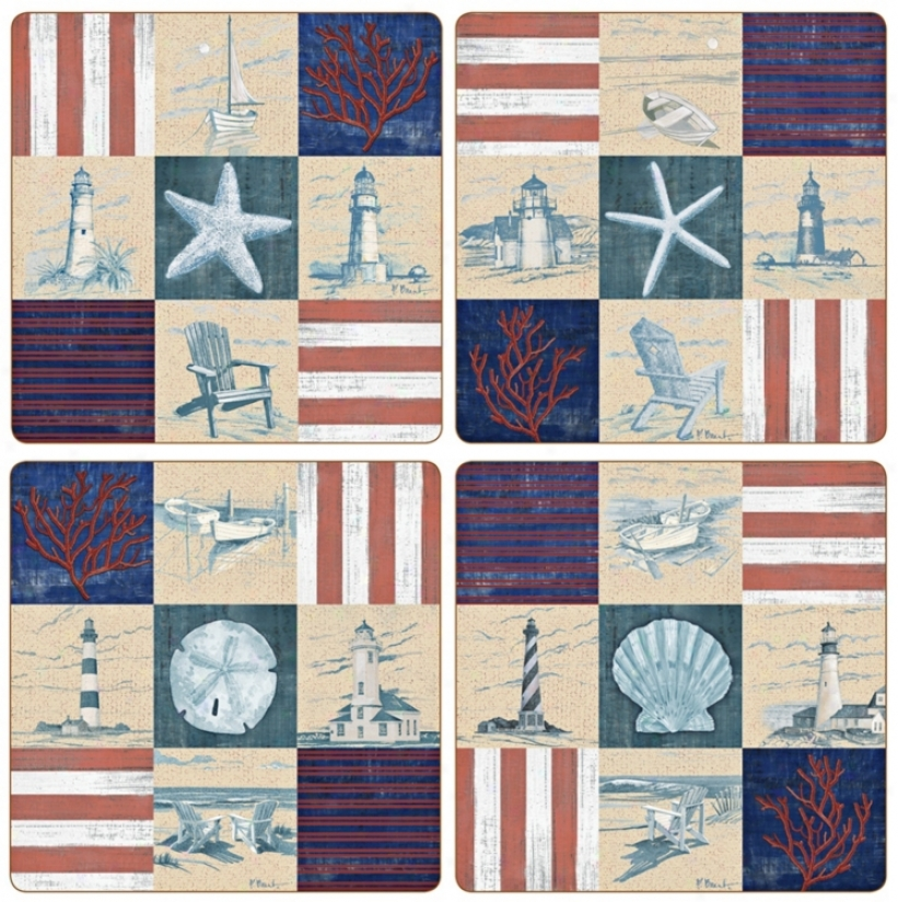 Hindostone Value Of Four American Coast Patchwork Coasters (u6871)