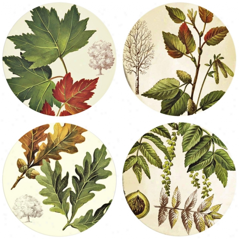 Hindostone Set Of Four Autumn Leaves Stone Coasters (m0794)