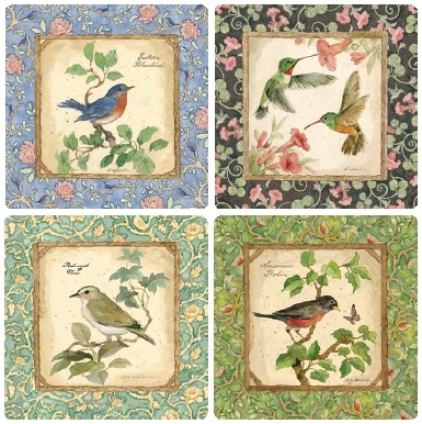 Hindostone Set Of Four Backyard Birds Coasters (r1465)