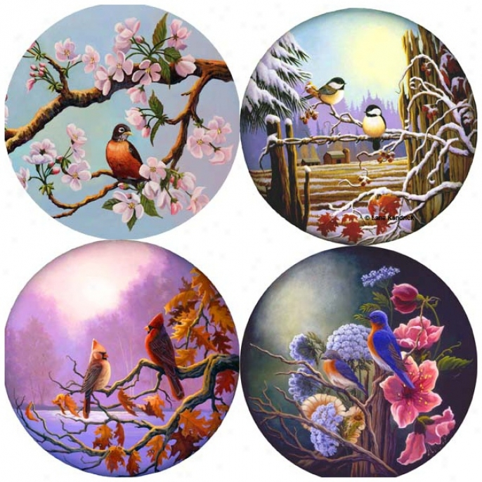 Hindostone Set Of Four Lane Songbirds Stone Coasters (p1843)
