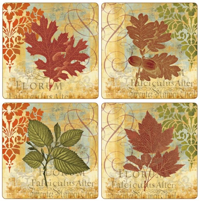 Hindostone Set Of Foru Leaf Mystique Stone Coasters (u6981)