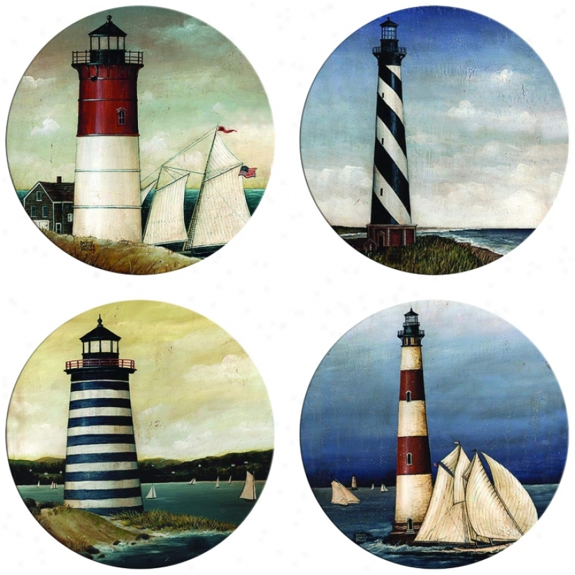 Hindostone Set Of Four New Lighthouses Stone Coasters (m0819)