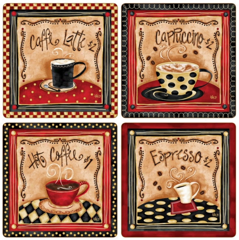 Hindostone Set Of Four Nostalgic Coffee Stone Coasters (u7153)