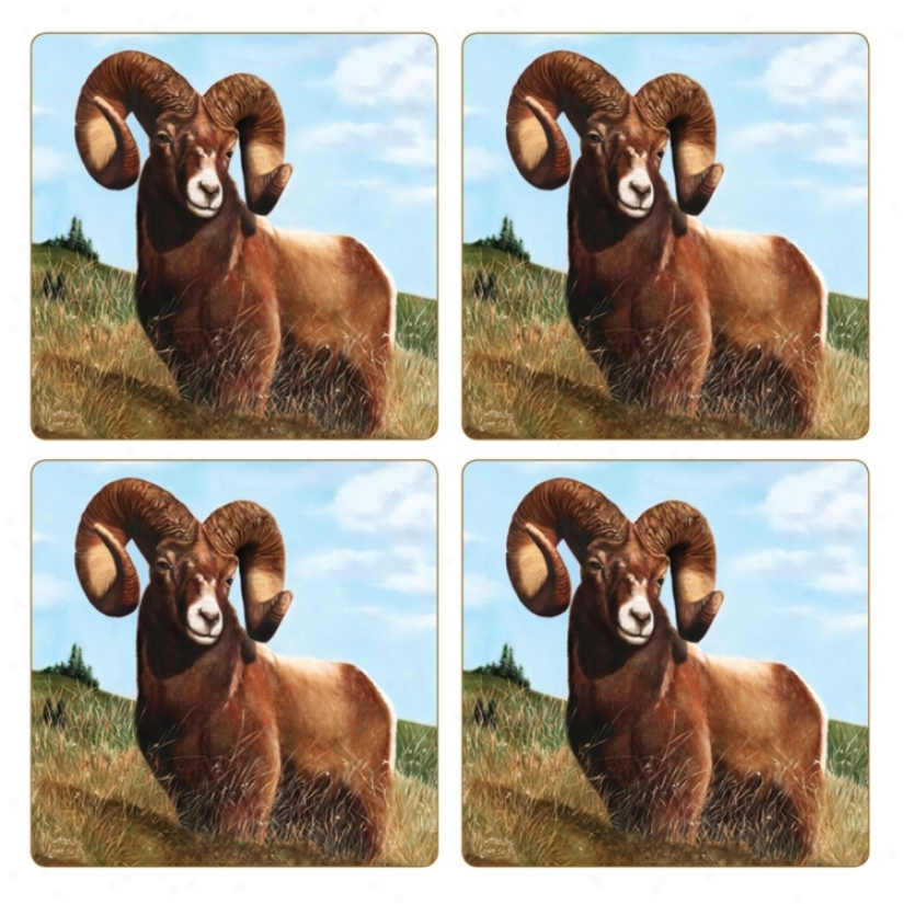 Hindostone Set Of Four Ram Stone Coasters (u7182)
