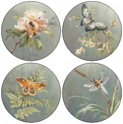 Hindostone Set Of Four Summer Garden Sandstone Coasters (r1469)