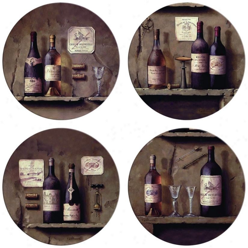 Hondostone Set Of Four Wine Cellar Stone Coasters (m0786)