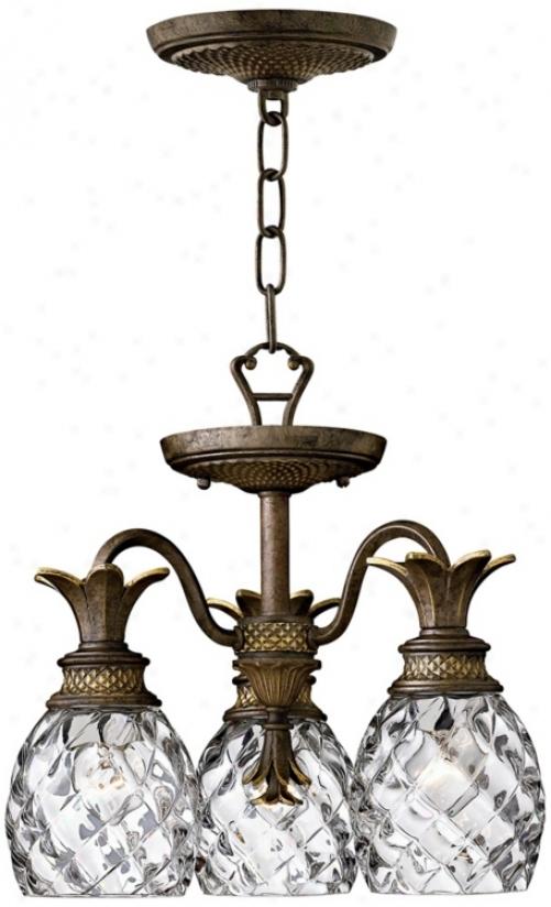 "Hinkley Plantation 3-light 15"" Wide Pearl Bronze Chandelier (49537)"