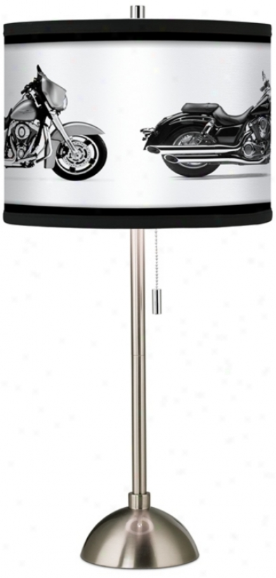 Hit The Road Custom Giclee Brushed Steel Table Lamp (60757-h6255)