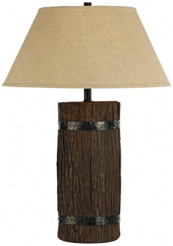 Horizon Montana Tree Bark Natural Linen Table Lamp (t3275)