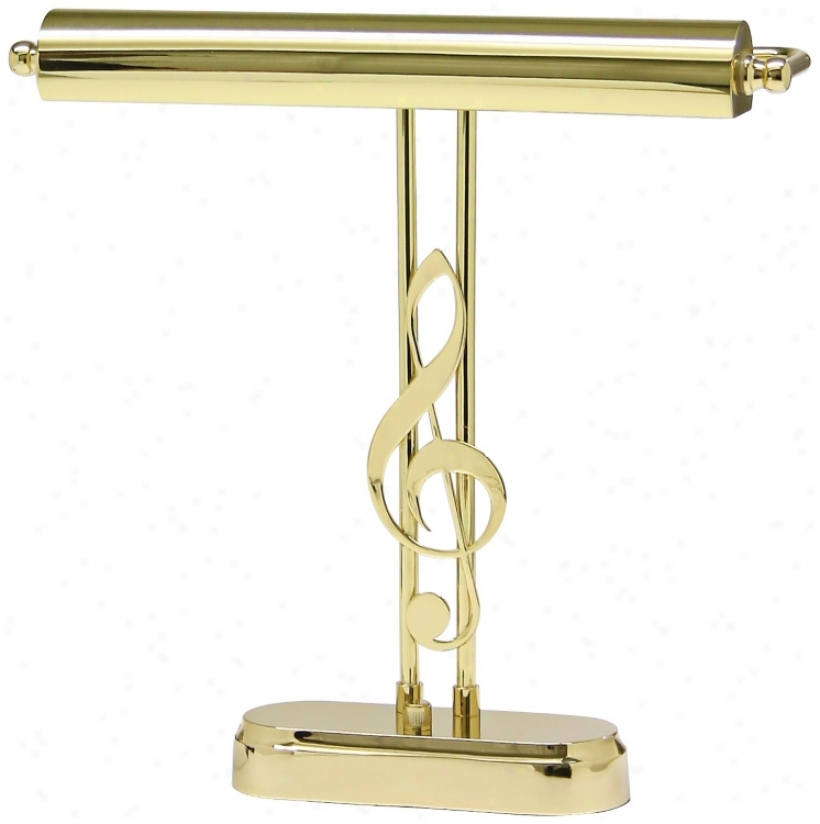 "House Of Troy 15 1/2"" High Plllished Brass G Clef Piano Lamp (r3424)"