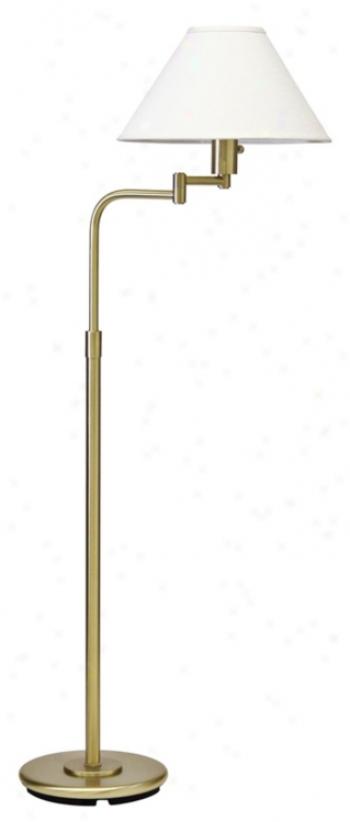 House Of Troy Home Office Swingarm Satin Brass Floor Lamp (66224)