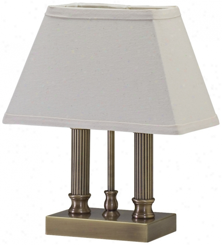 House Of Troy Twin Column Antique Brass Desk Lamp (r3384)