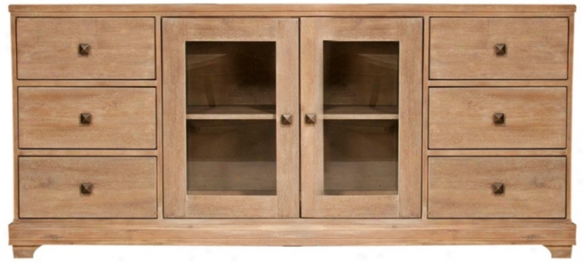 "Hudson Stone Wash Finish 71"" Spacious Media Cabinet (t5199)"