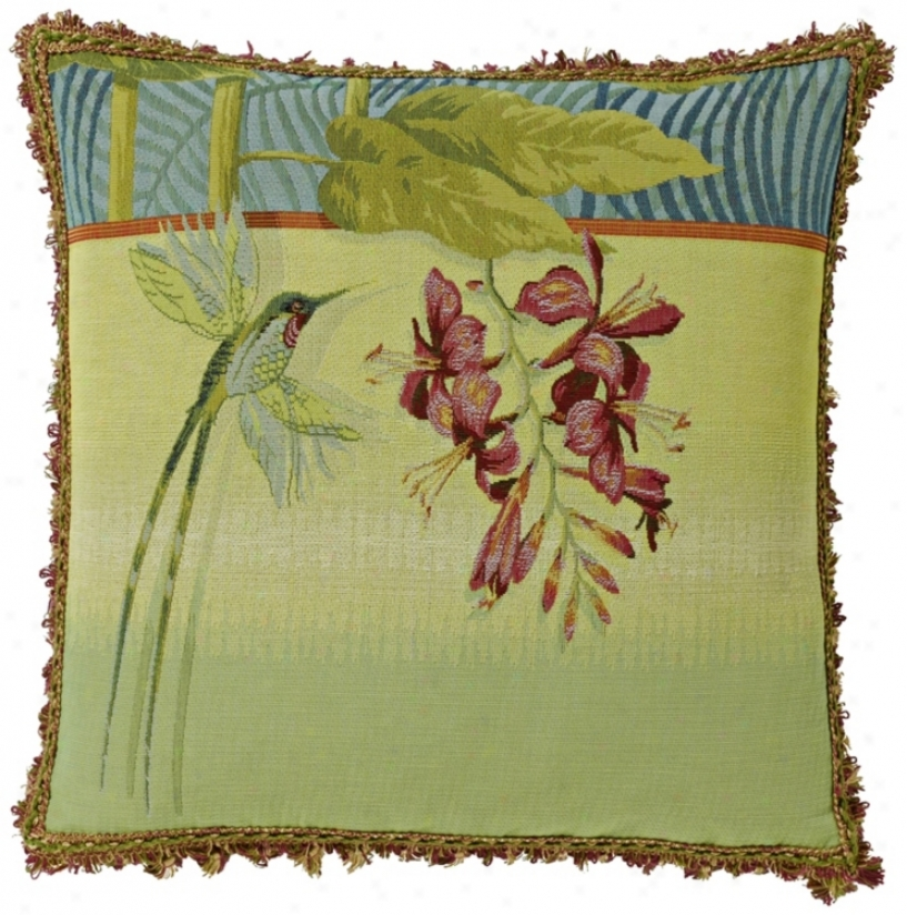 "Hummingbird 19"" Green Square Pillow (g2908)"