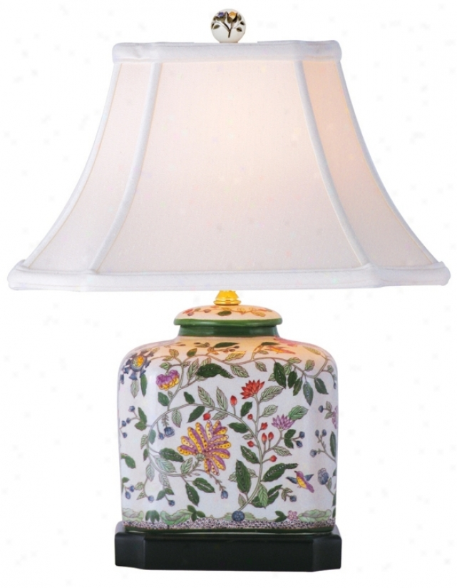 "Hummingbird Floral Porcelain Discord 19"" High Tabl3 Lamp (m7961)"