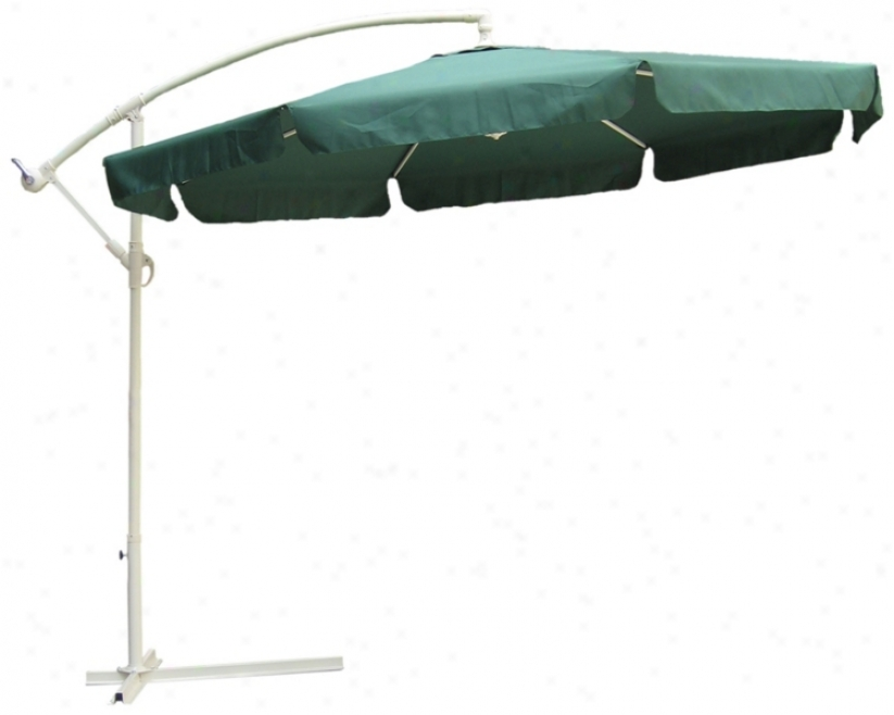 Hunter Green And Almond Steel Offset Market Table Umbrella (t4738)