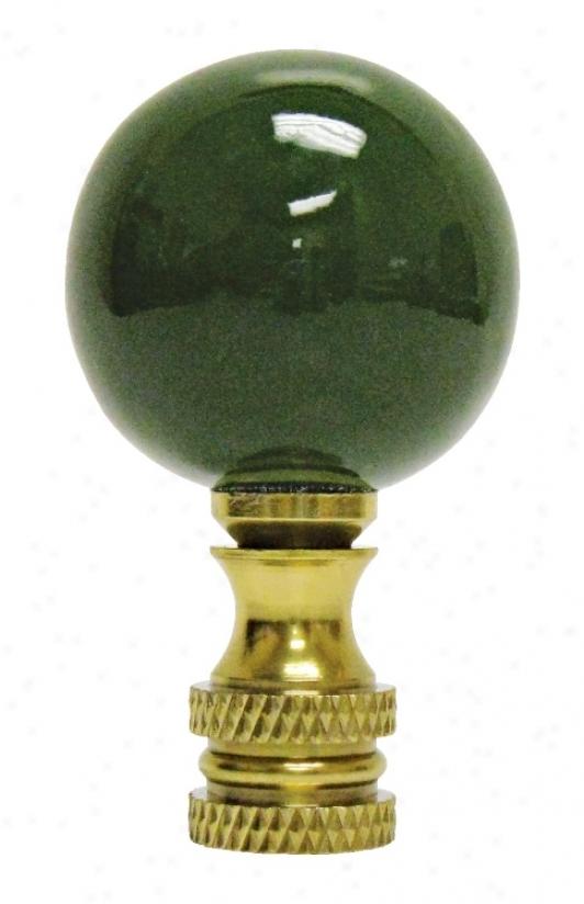 Hunting-horse Green Ceraamic Ball Finial (02296)