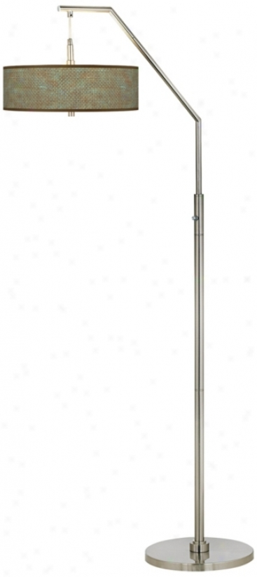 Interweave Patina Giclee Shade Arc Floor Lamp (h5361-v2357)