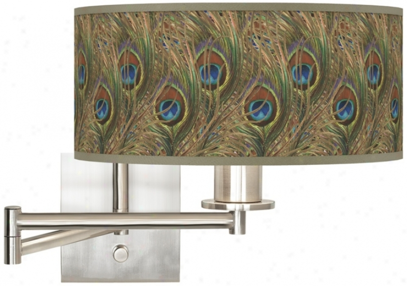 Iridescent Feather Brushed Steel Plug-in Swing Take ~s Wall Light (k1164-w6279)