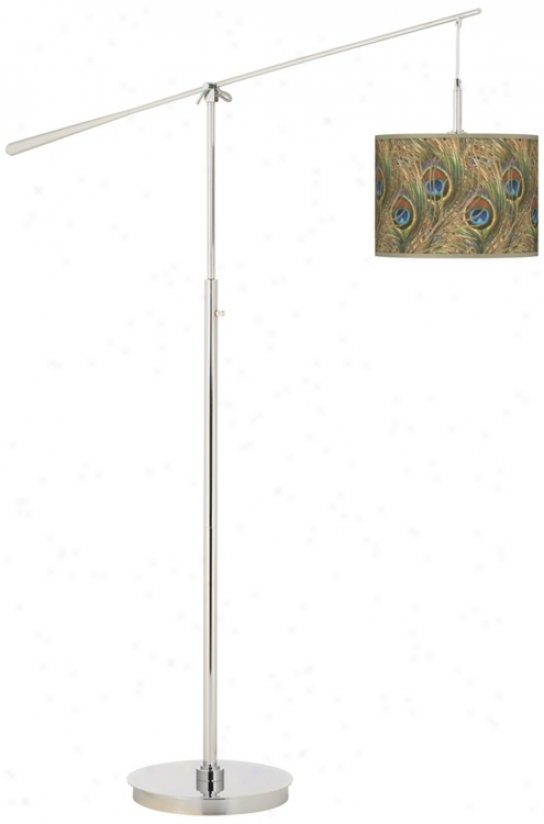 Iridescent Feather Giclee Boom Arm Floor Lamp (n0749-w7446)