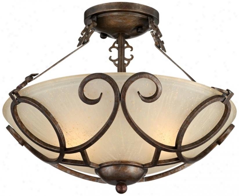 "Iron Art Bronze 16"" Wide Semi-flush Ceiling Light (t9763)"