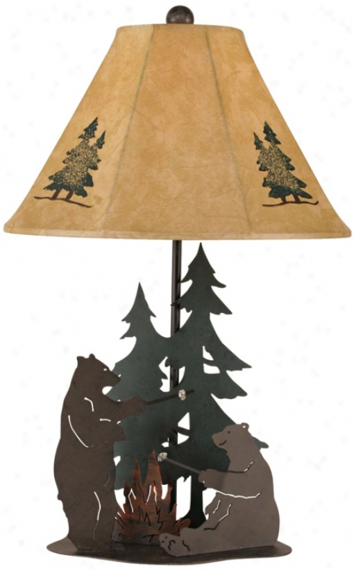 Iron Bears Roasting Masrhmallows Table Lamp (p4013)