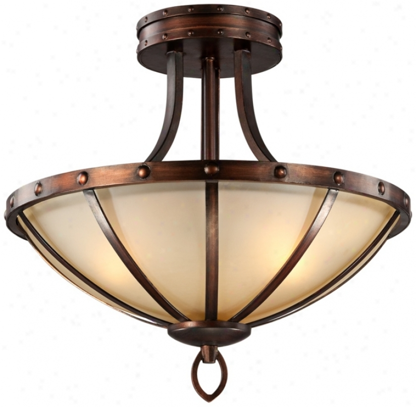 "Iron Cage With Amber Glass 18"" Wide Ceiling Light Fixture (u9348)"