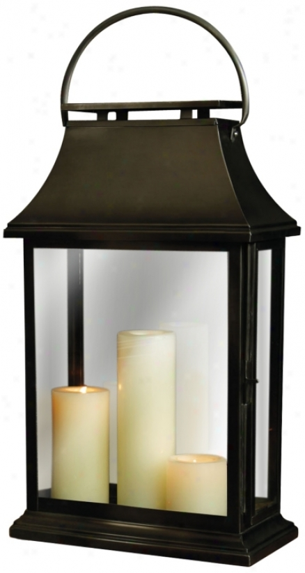 "Iron Chesapeake 22"" High Large Candle Lantern (u7371)"