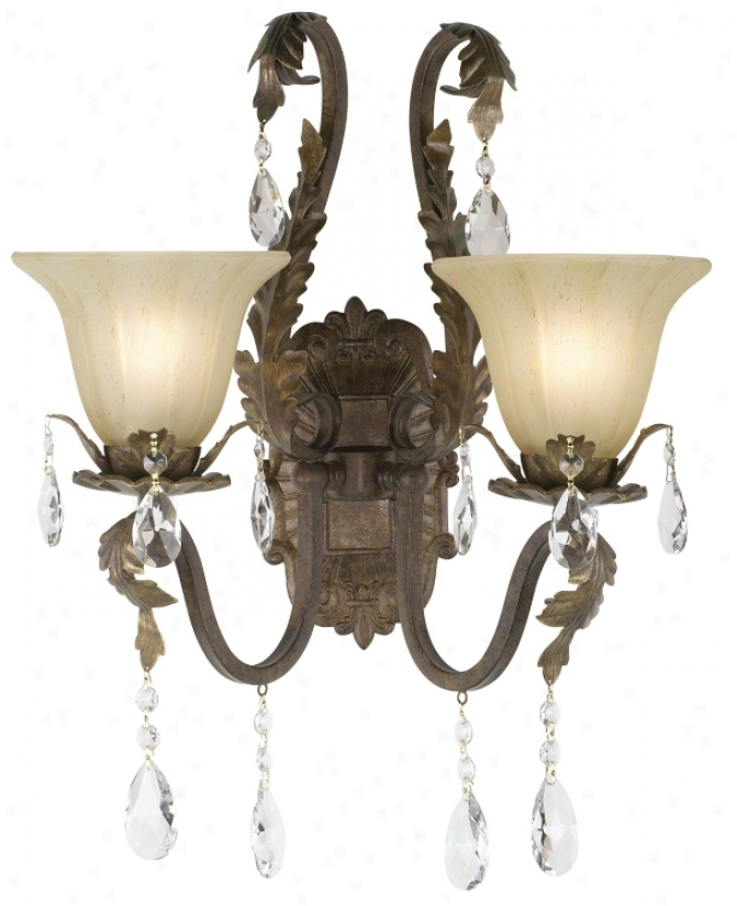 "Iron Leaf With Crystal Accents 15 1/2"" Wide Wall Sconce (50921)"