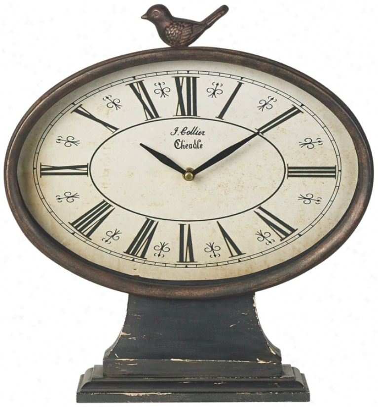 Iron Oval With Bird Distressed Tabletop Clock (t3384)