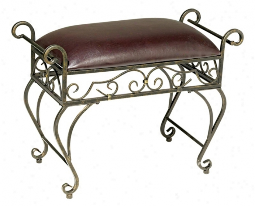 Iron Scr0ll Faux Leather Upholstered Bench (t4872)