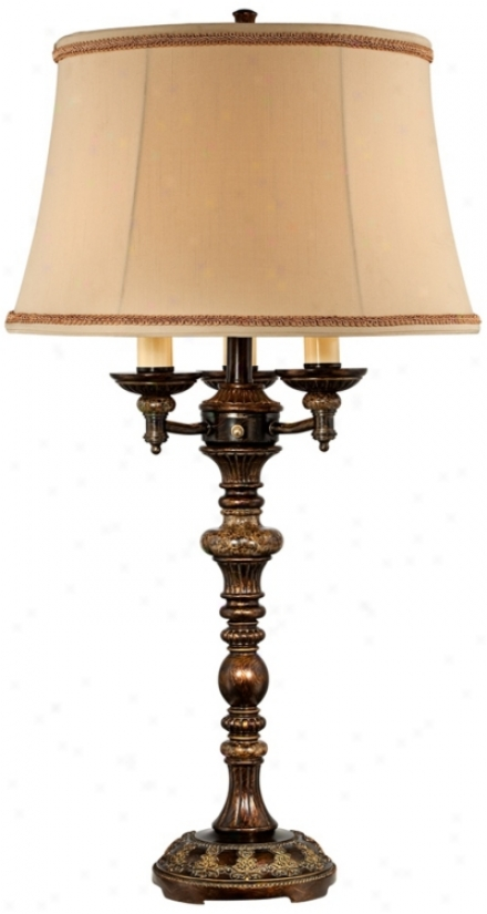 Italian Bronze With Faux Marble Accents 4-light Table Lamp (v1829)