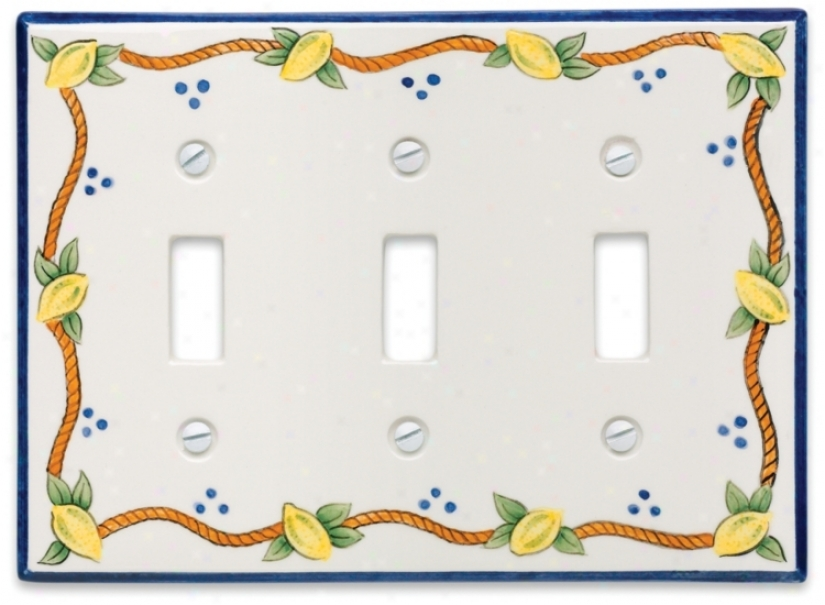 Italian Lemons Triple Toggle Ceramic Wall Plate (76061)