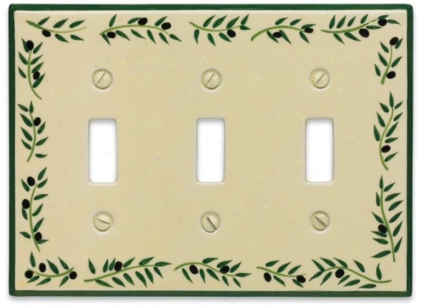 Italian Olive Triple Toggle Ceramic Wall Plate (76225)