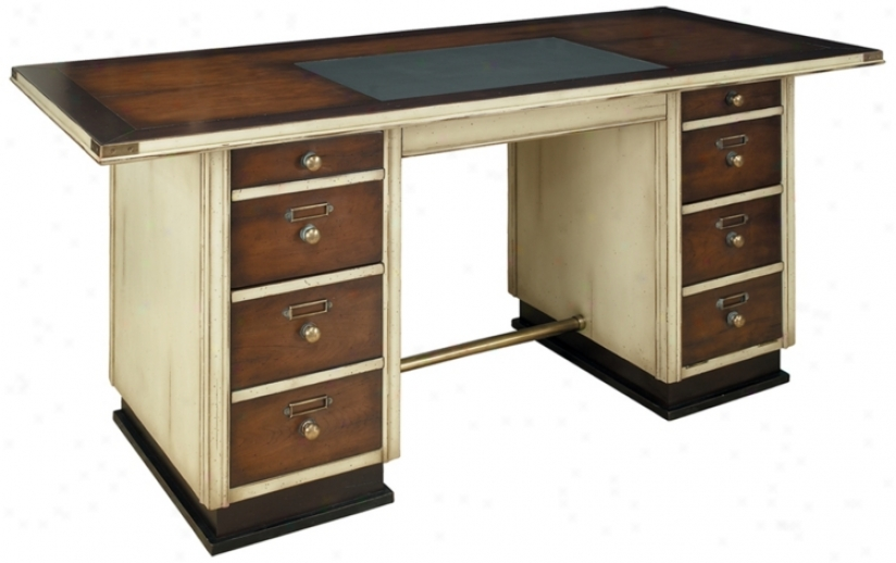 Ivory And Black Wood Captain's Desk (t1677)