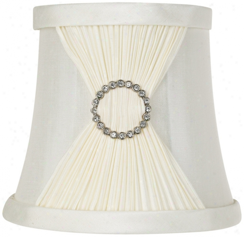 Ivory Fabric Pinch Pleat Shade 4x5.5x5 (clip-on) (t2358)