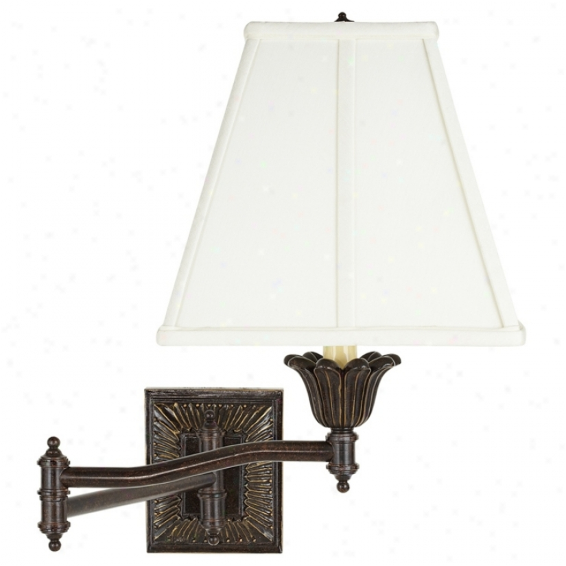 Ivory Fabric Shade Bronxe Plug-inswinb Arm Wall Lamp (u3743-23875)