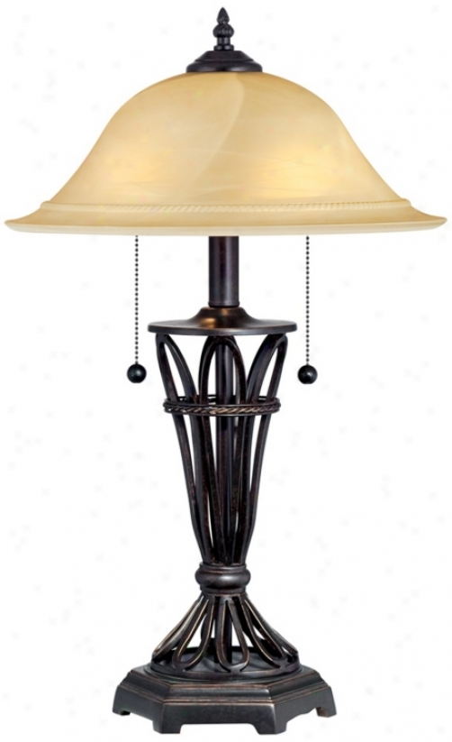 Ivory Glass Shade Iron Cage Table Lamp (t8435)