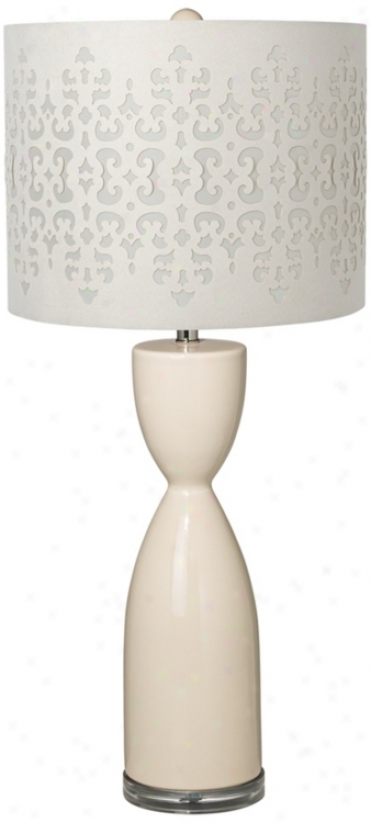Ivory Laser Cut Shade Hourglzss Ceramic Eggshell Table Lamp (t5904 -u0953)