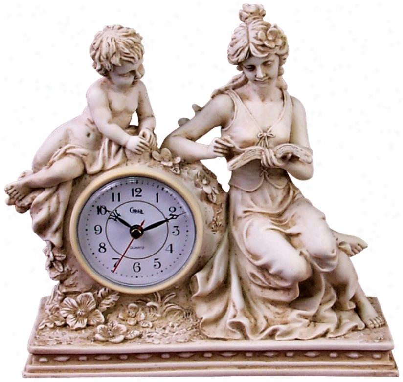 """Ivory Maiden 9 1/2"""" Remote Desk Clock (j3090)"""