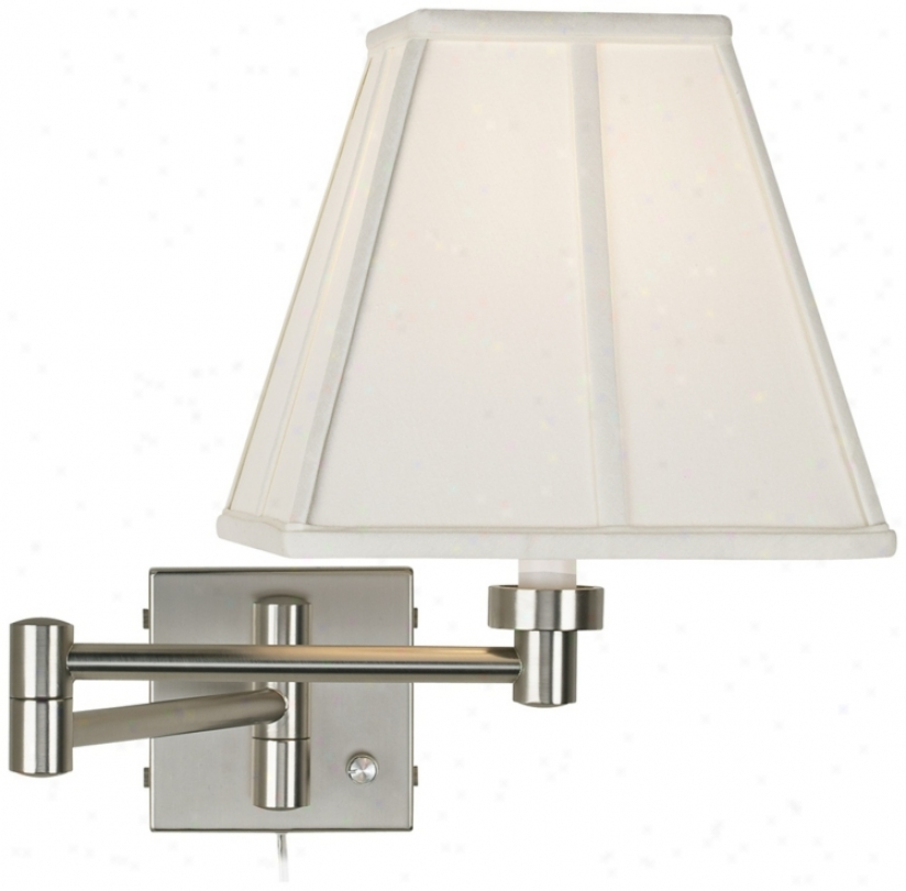 Ivory Shade Brushed Strel Plug-in Swing Arm Wall Lamp (20762-23875)