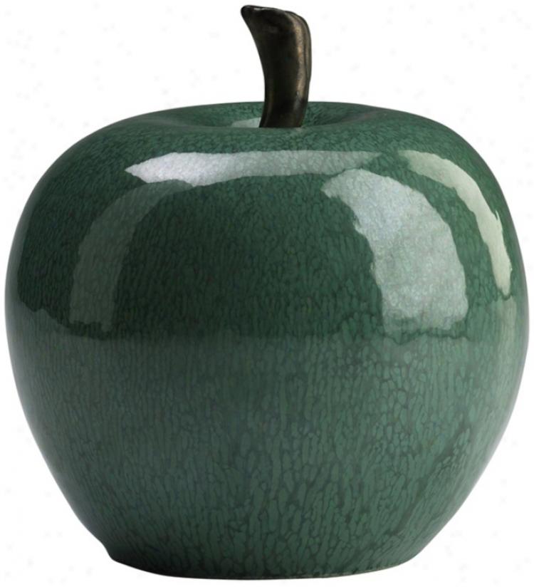 "Jade Green 6"" High Ceramic Apple (j0420)"