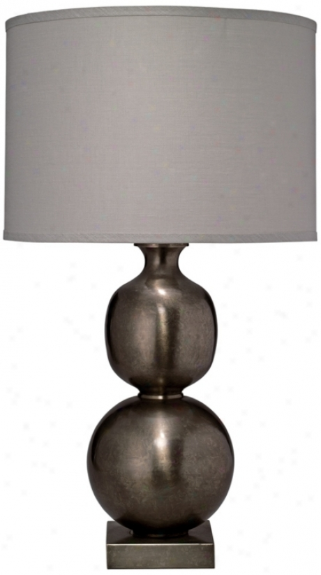 Jamie Young Double Ball Cast Metal Pewter Table Lamp (w5315)